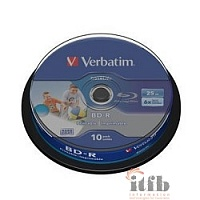 VERBATIM BD-R 25 GB 6x CB/10 Full Ink Print NO ID (43804)